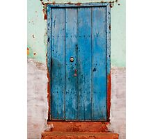 Weather beaten blue door, Trinidad, Cuba Photographic Print