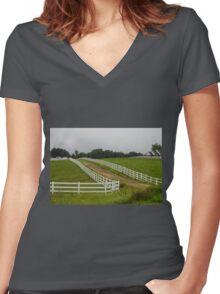 Horse Farm Women's Fitted V-Neck T-Shirt