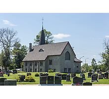 Small town church with cemetery Photographic Print