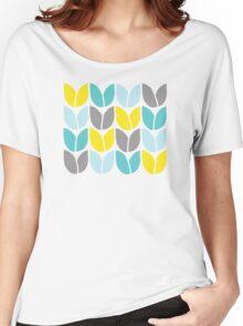 Tulip Knit (Aqua Gray Yellow) Women's Relaxed Fit T-Shirt