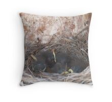 Bluebird nestlings Throw Pillow