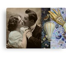Happy Couple Vintage Hard Journal Cover Canvas Print