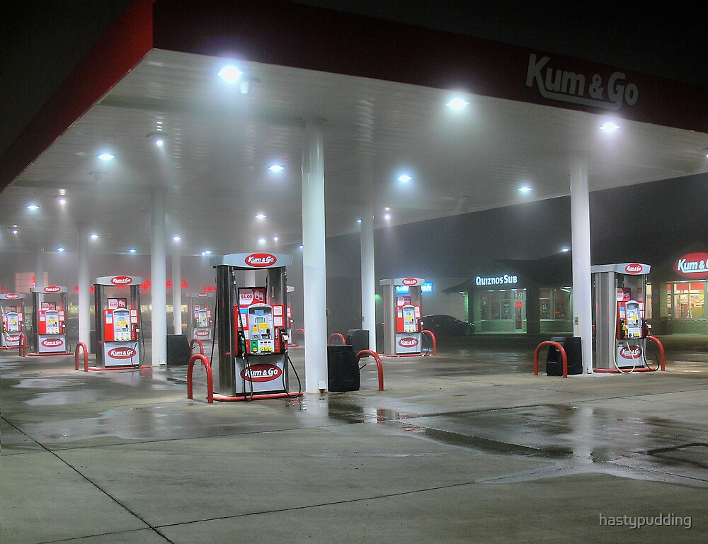 Foggy Night At The Gas Station by hastypudding