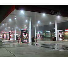 Foggy Night At The Gas Station Photographic Print