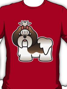 Brindle And White Shih Tzu Cartoon Dog T-Shirt