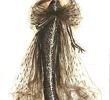 Fashion Sketch of Couture Gown by Kathlin Argiro