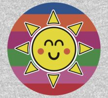 Hello Sunshine / Rainbow Background One Piece - Long Sleeve