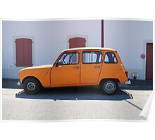 "Renault 4, ""Quatrelle"" Orange Poster"