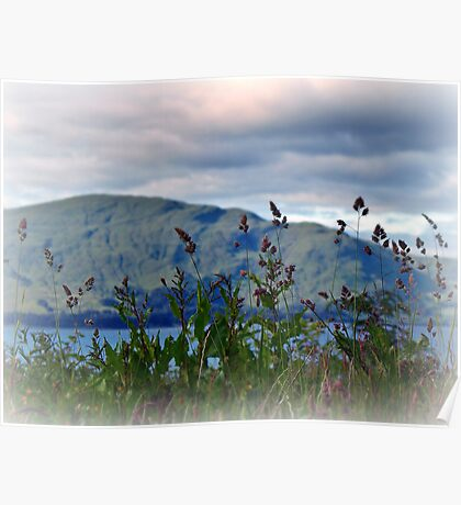 Mountain view over Loch Linnhe,Scotland. Poster
