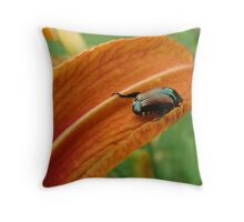 Japanese Beetle Just Hangin' Out Throw Pillow