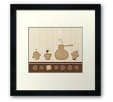 Coffee Cup Time Retro Illustration Framed Print