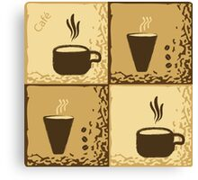 Coffee Cup Time Retro Illustration Canvas Print