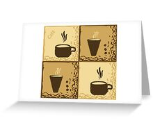 Coffee Cup Time Retro Illustration Greeting Card