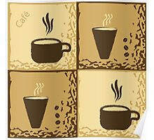 Coffee Cup Time Retro Illustration Poster