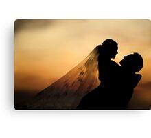 Wedding Portrait Silhouette  Canvas Print