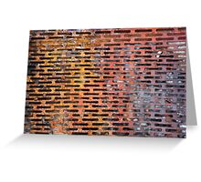 Old rusted metal background in New York, USA Greeting Card