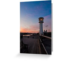 Littlehampton Lighthouse at dusk Greeting Card