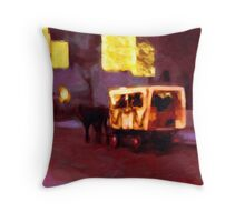 Christmas Carriage Ride In Vienna Throw Pillow