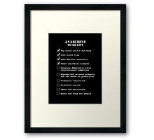 Anarchist To-Do List Framed Print