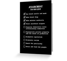 Anarchist To-Do List Greeting Card