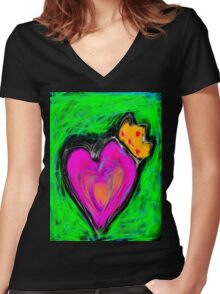 Love is King  Women's Fitted V-Neck T-Shirt