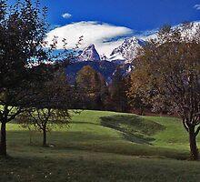 Pastures and the Watzmann - Berchtesgaden, Germany by David J Dionne