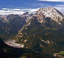Foggy Königssee with the Watzmann - Berchtesgaden, Germany by David J Dionne