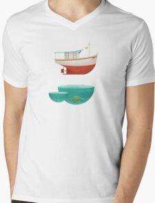 Floating Boat Mens V-Neck T-Shirt
