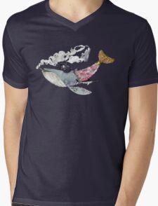 Pirate Whale Mens V-Neck T-Shirt
