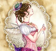Victorian Sewing Fairy with lace and corset by meredithdillman