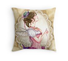 Victorian Sewing Fairy with lace and corset Throw Pillow