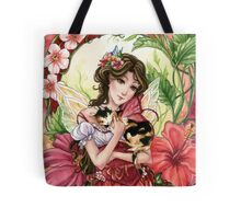 Hibiscus flower Fairy with Calico Cat Tote Bag