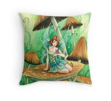 Green Mushroom fairy, cute anime art Throw Pillow
