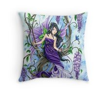 Purple Wisteria flower fairy by Meredith Dillman Throw Pillow