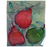 Three Pears with Silver Poster