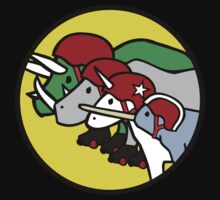 Horned Warrior Friends ROLLER DERBY (Unicorn, Narwhal, Rhino, Triceratops) by jezkemp