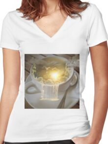 Clouds in my Coffee Women's Fitted V-Neck T-Shirt