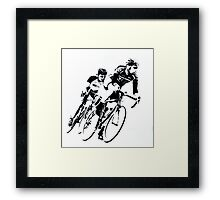 Black & White Cyclists into the Turn Framed Print