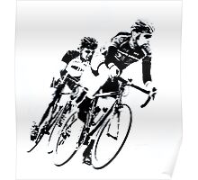 Black & White Cyclists into the Turn Poster