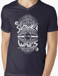 Slave to the Waves Typography Mens V-Neck T-Shirt