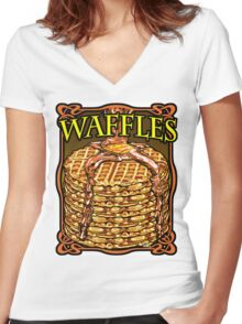 WAFFLES!! Women's Fitted V-Neck T-Shirt