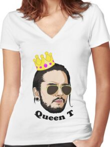 Queen T - Black Text Women's Fitted V-Neck T-Shirt