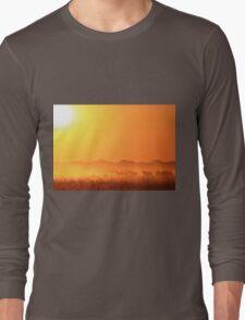 Zebra Sunset - African Wildlife Background - Golden Harmony Long Sleeve T-Shirt