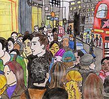 Crowded Oxford Street by Kyleacharisse