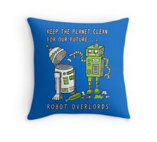 Robot Earth Throw Pillow