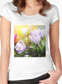 Crocus Easter Flowers Women's Fitted Scoop T-Shirt