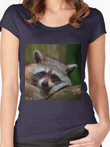 Raccoon Face Women's Fitted Scoop T-Shirt