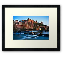 Spring Dusk In Durham City, UK - The Riverside. Framed Print