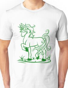 Minimal Unicorn Green Unisex T-Shirt