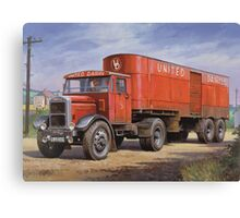 Scammell van United Dairies. Canvas Print